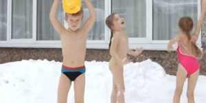 Tratamentul Siberian - dusurile reci, in zapada, pentru copii